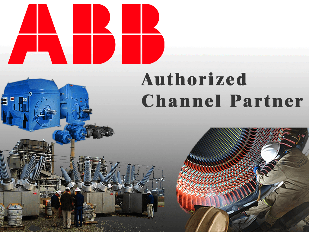 image with ABB logo and generator, motor, circuit breaker, testing analysis and overhauling images stating authorized channel partner