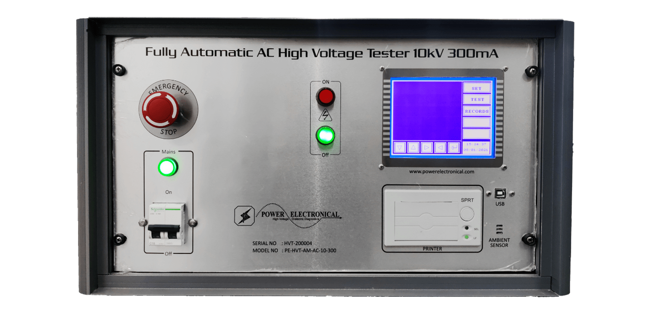 front view of power electronical automatic high voltage test system also known as HIPOT tester