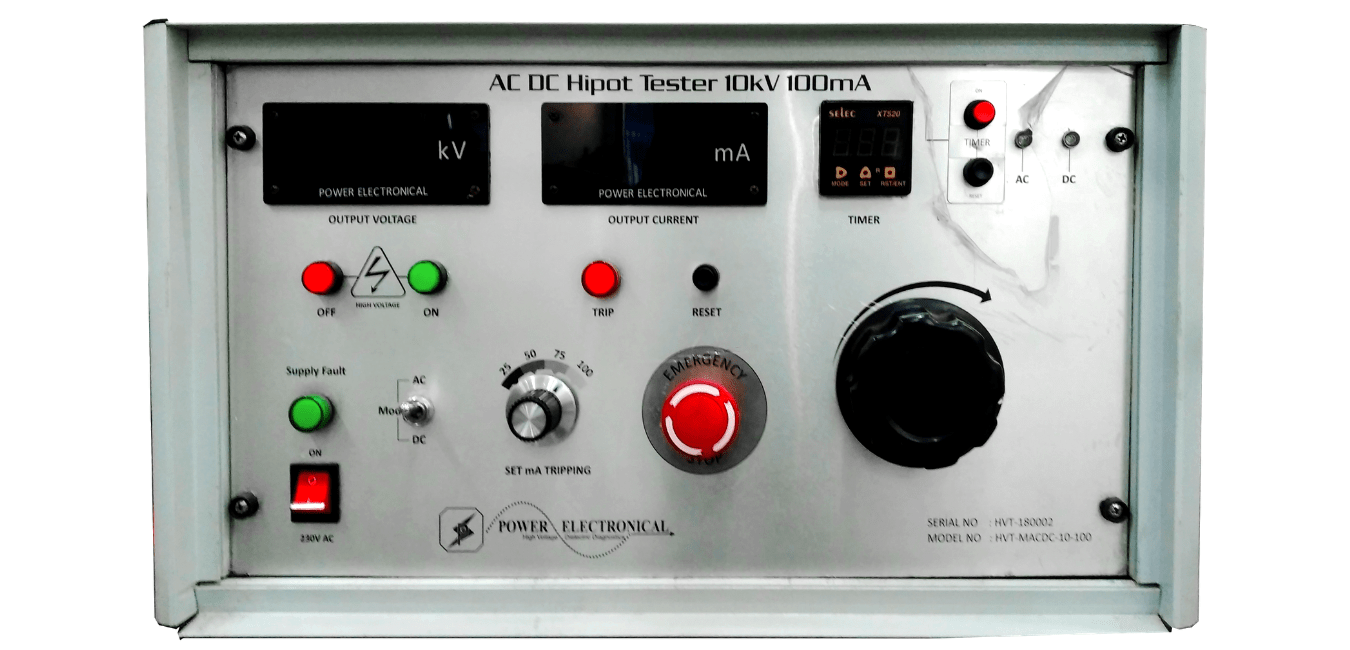 sample front view of power electronical customizable manual high voltage test system (HIPOT tester) up to 500kV, 500mA