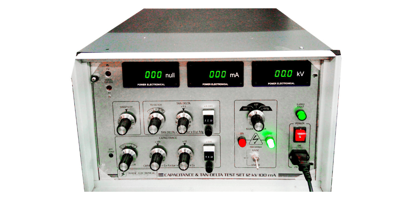 front view image of power electronical manual capacitance and tan-delta test system (12kV,100mA) or tester