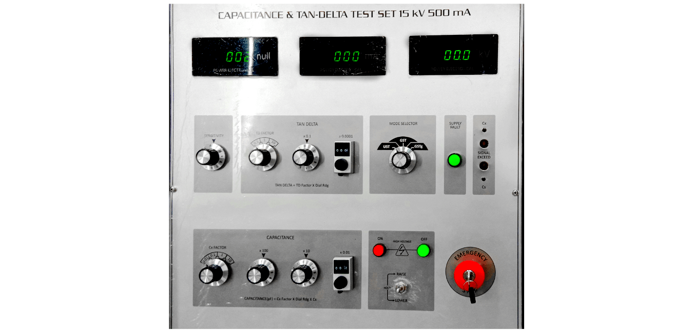 sample front panel view of power electronical manufactured manual capacitance and tan-delta test system (up to 15kV, 500mA) customizable model